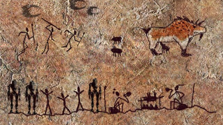 Cave wall showing human storytelling