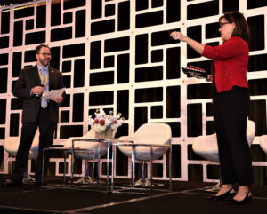 Amy knows your audience learns through interaction. Here she coaches Jeff Hebb, Government Affairs Director for the Nebraska Association of REALTORS, on sharing effective advocacy stories.