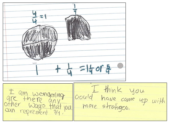 This representation shows the student's comfort with using a mixed number for 5/4.