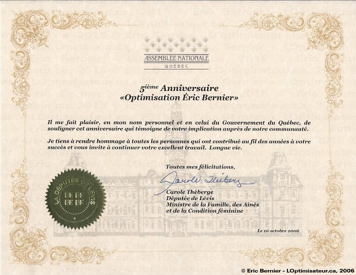 Assemblée nationale pour implication auprès de la communauté d'Optimisation Éric Bernier.