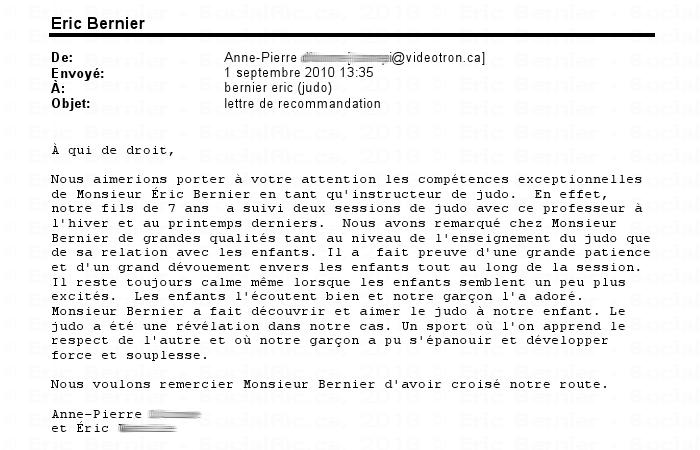 Anne-Pierre pour Éric Bernier (judo).