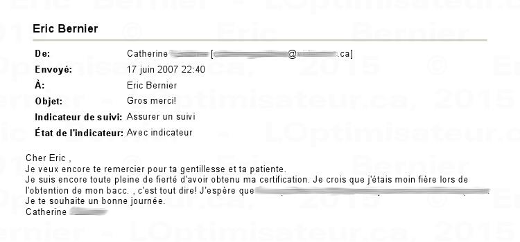 Catherine plus fière que lors de l'obtention de son bacc, pour Éric Bernier.