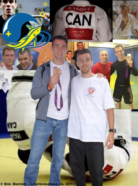 Antoine Valois-Fortier et sa médaille olympique, ainsi que Éric Bernier (LOptimisateur).