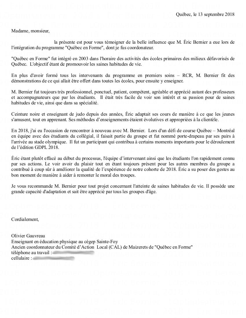 Référence de Olivier Gauvreau pour Éric Bernier.