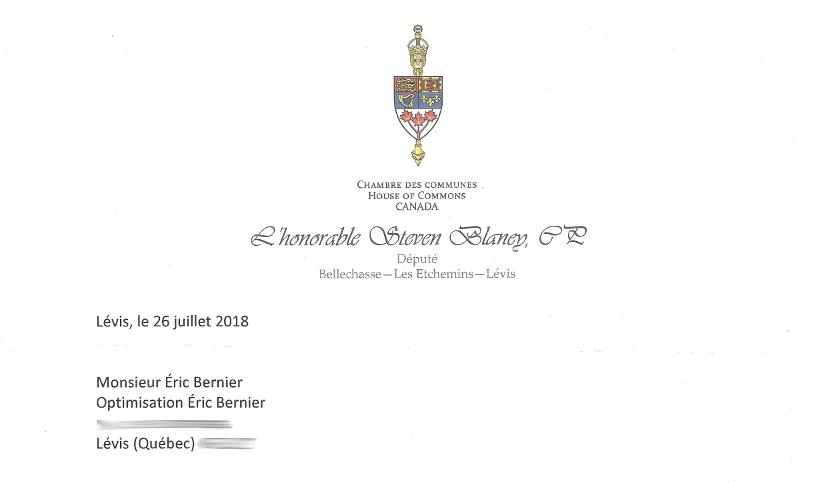 Entête de lettre de Steven Blaney pour Éric Bernier