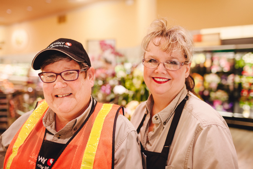 Roi Lynn (Left) with her supervisor Darla (Right) at Safeway. Photo Credit: Carrie Hall Photography