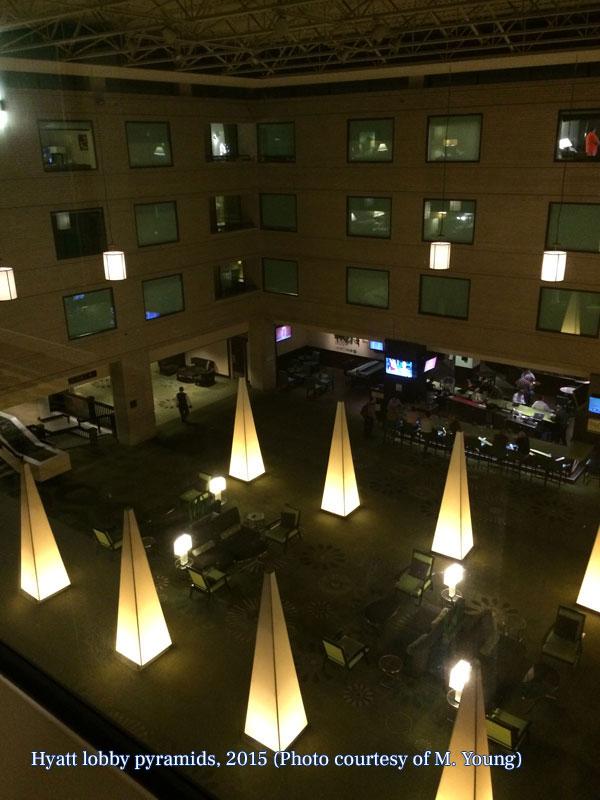 Hyatt lobby pyramids, 2015