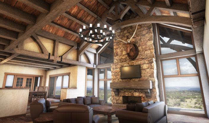 Timberframe Rendering Great Rooms Texas