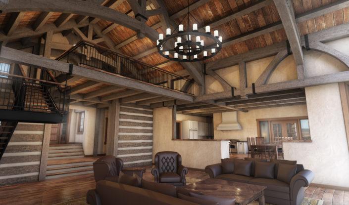 Timberframe Rendering Custom Living Rooms Texas