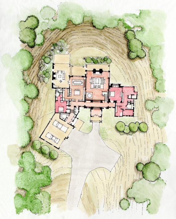 Architecture Sketch Custom Homes Site Texas
