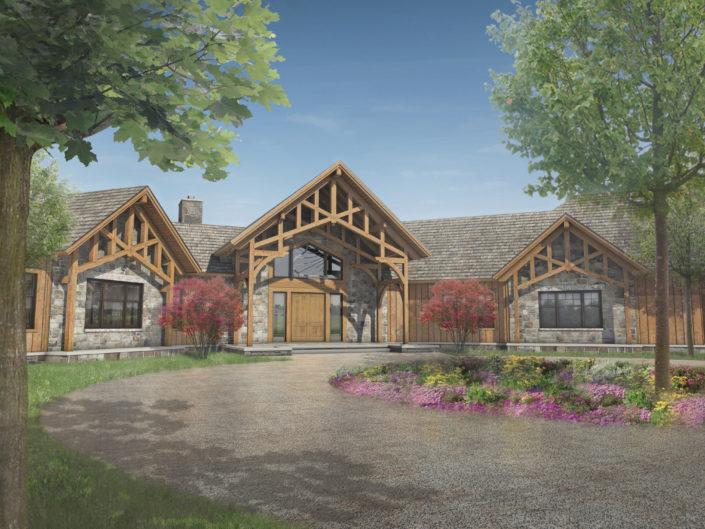 Timberframe Rendering Tabberson Architects South Dakota