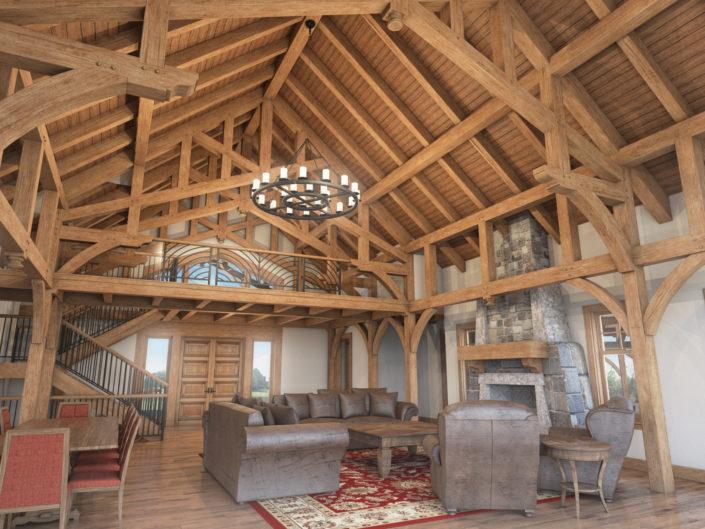 Timberframe Rendering South Dakota Custom Interior homes