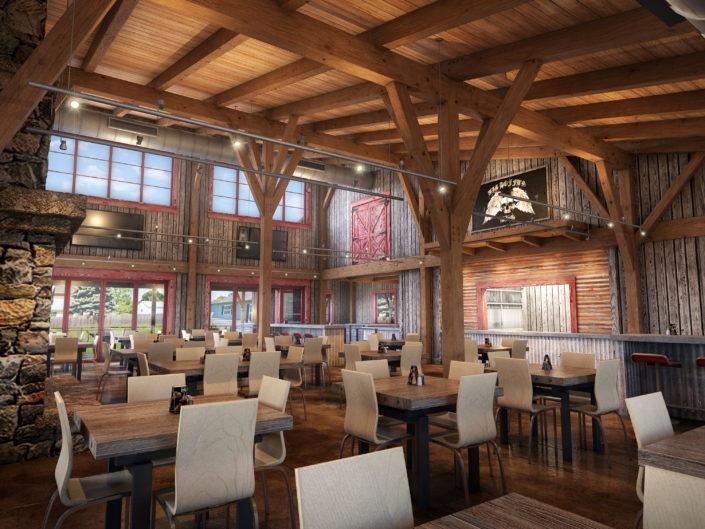 Timberframe Rendering Indiana Interior Restaurant