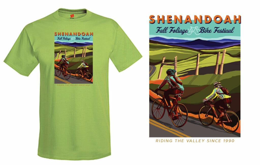 Shenandoah Fall Foliage Bike Festival 2021 Shirt Design