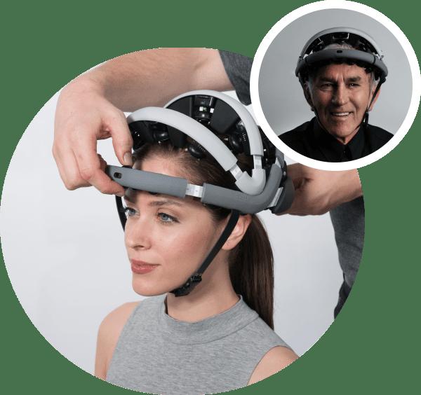 Woman wearing Zeto's EEG monitoring device