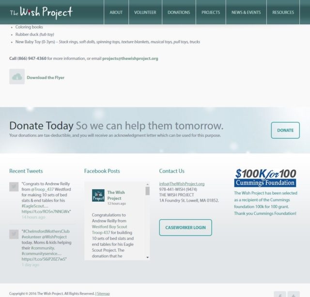 the wish project screenshot showing call to action functionality