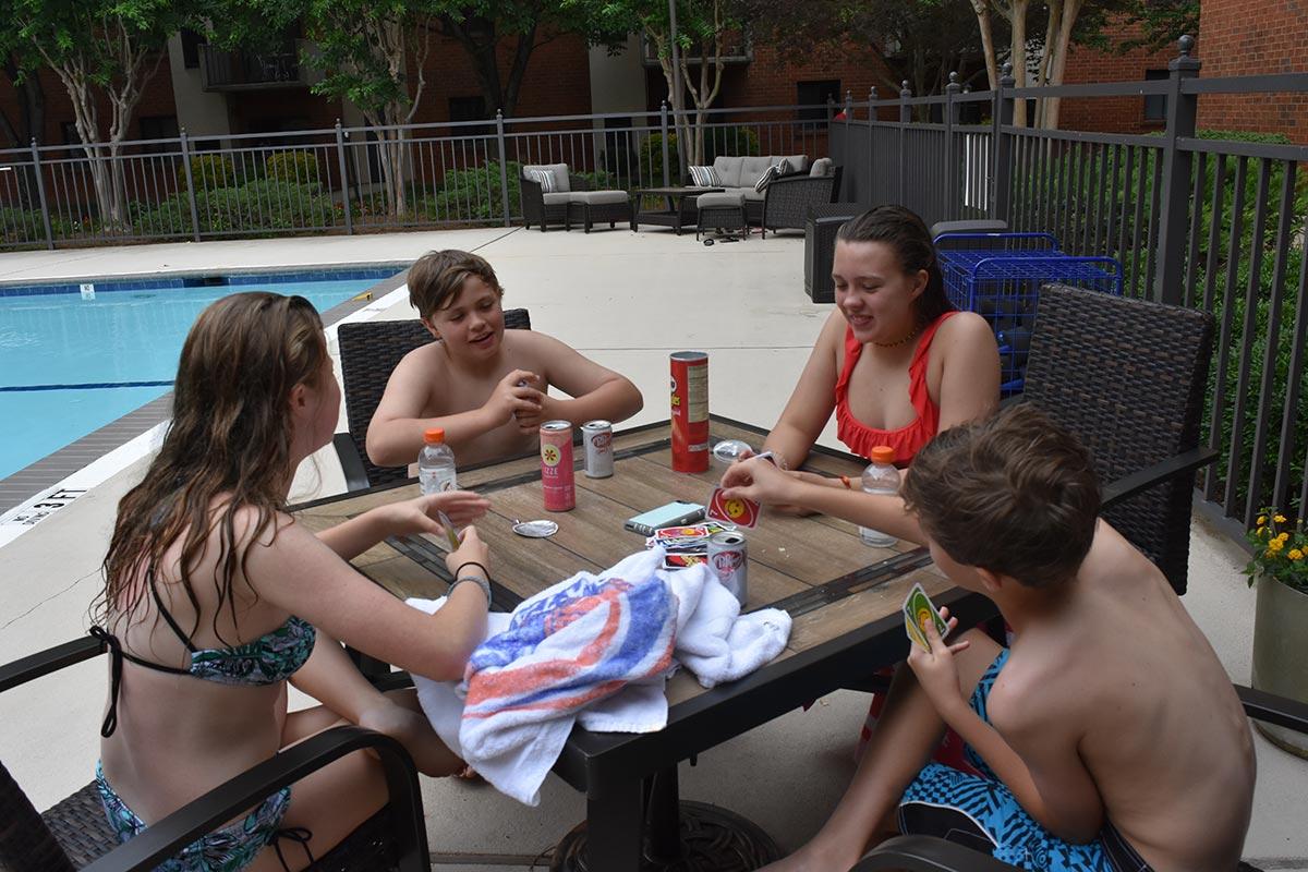 grandkids by pool