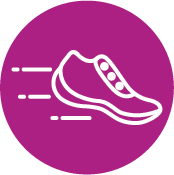 Fuchsia Circle With Running Shoe Icon Inside