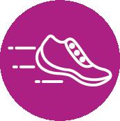 Fuchsia Circle With Running Shoe Icon Inside