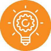 Orange Circle With Lightbulb Icon Inside