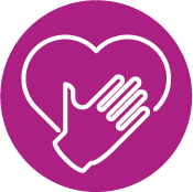 Fuchsia Circle With Hand And Heart Icon Inside