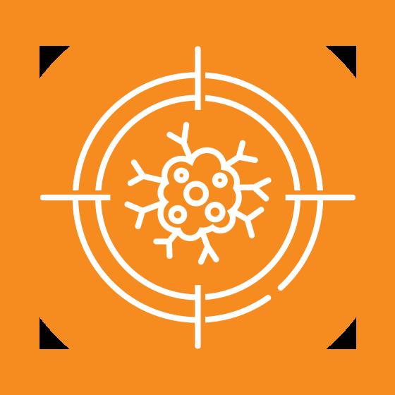 Orange circle with white brain icon inside