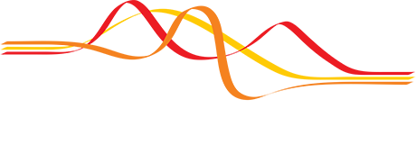 Nature Commincations Logo - White serif and sans-serif type with red, orange, and yellow bands of color above