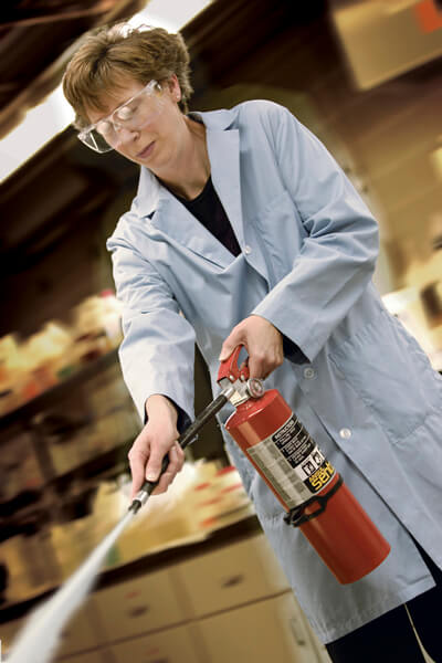 fire extinguisher in lab