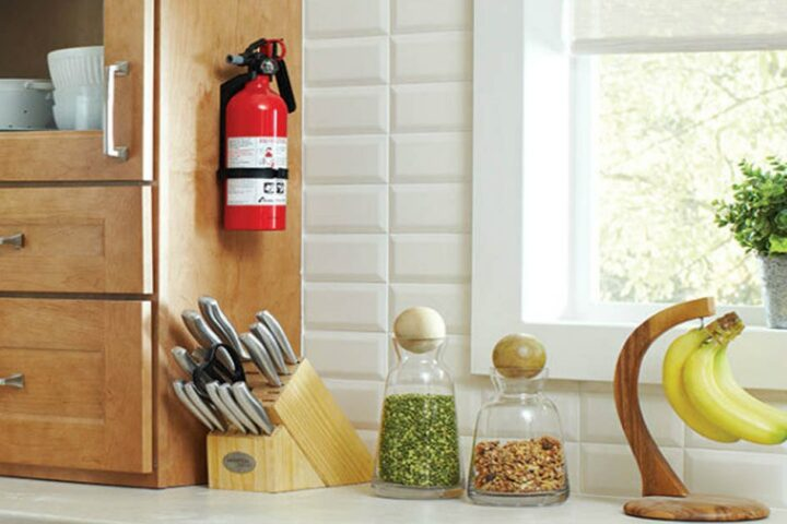 fire extinguisher hanging in kitchen