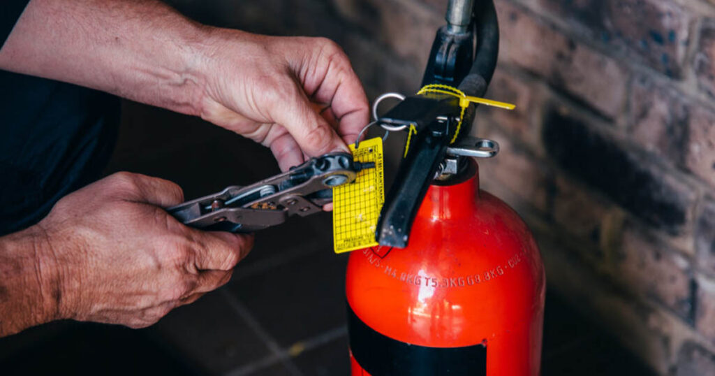 tagging a fire extinguisher