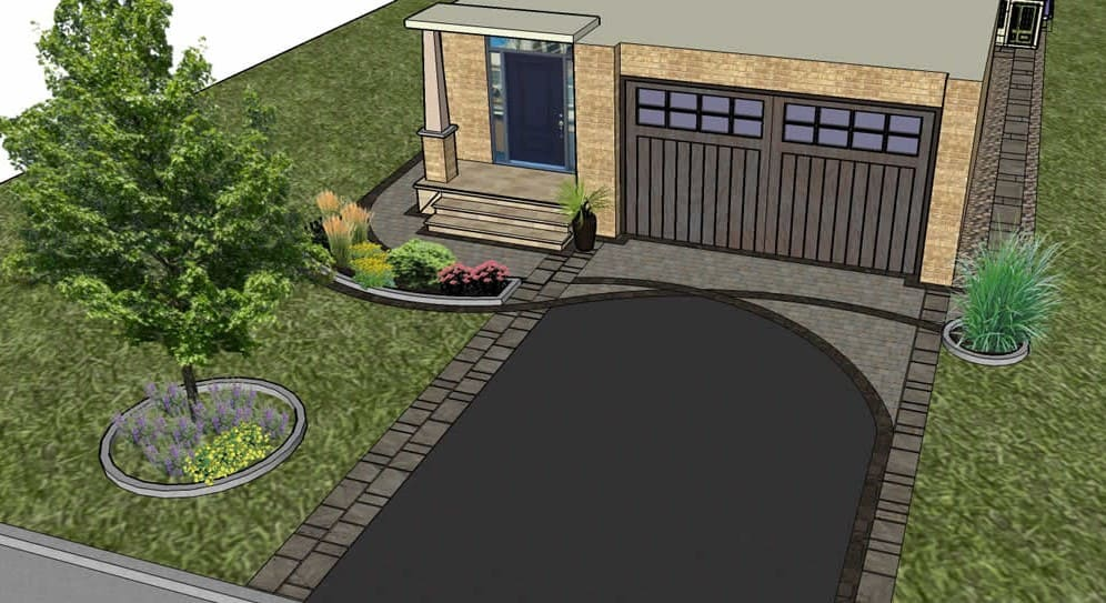 3D-plan render of front yard and garage and plants