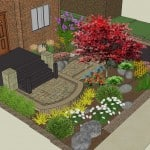3D plan render of frontyard and plantings, including stairs and front of house