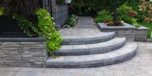 curved front step with retaining walls
