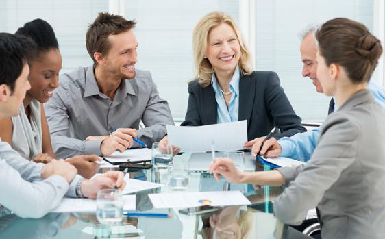 smiling business executives