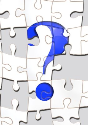 question mark with puzzle in background clip art
