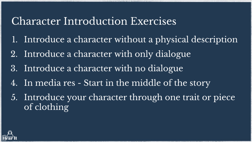 Character Introduction Writing Exercises