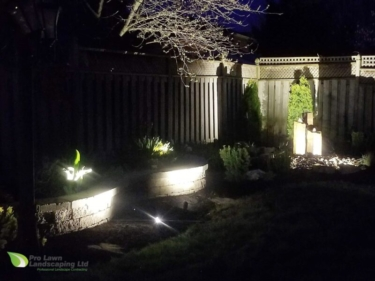 Landscape Lighting, Water Feature, Raised Garden