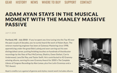 Adam Ayan profiled on Manley Labs website.
