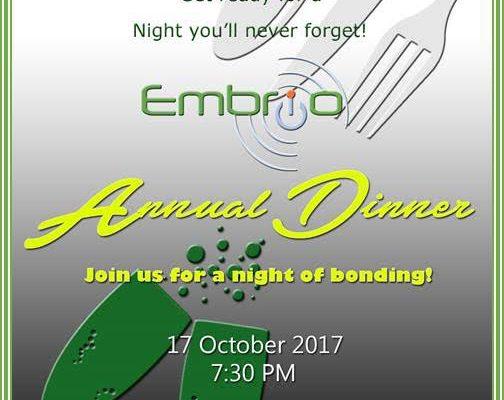 Embrio Annual Dinner 2017 Invite