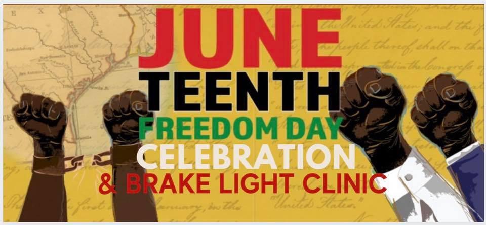 Graphic banner for Michigan Liberation Juneteenth Freedom Celebration Brake Light Clinic