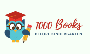 Picture of owl with pencil with link to 1000 Books Before Kindergarten Beanstack signup