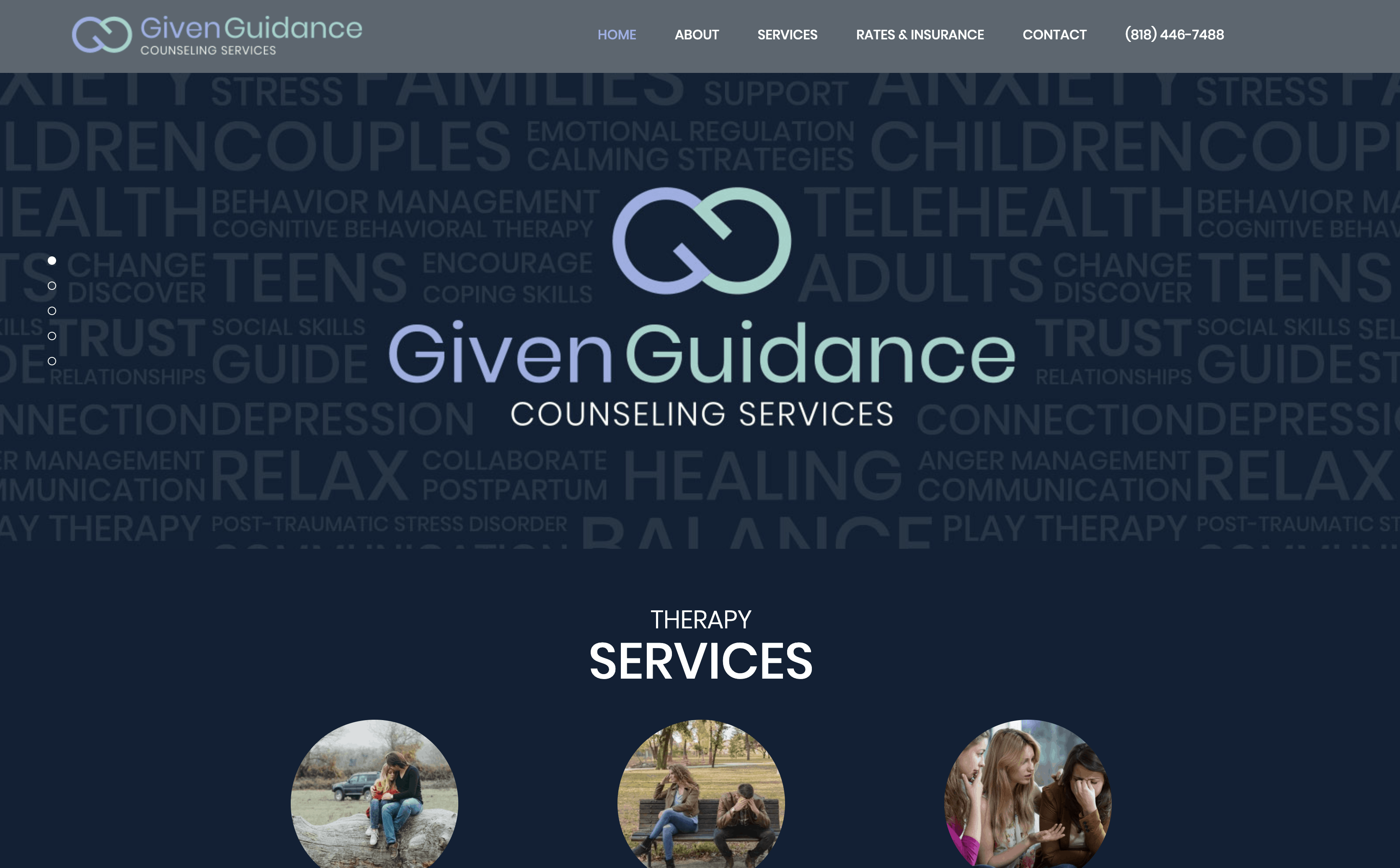Given Guidance Homepage Design