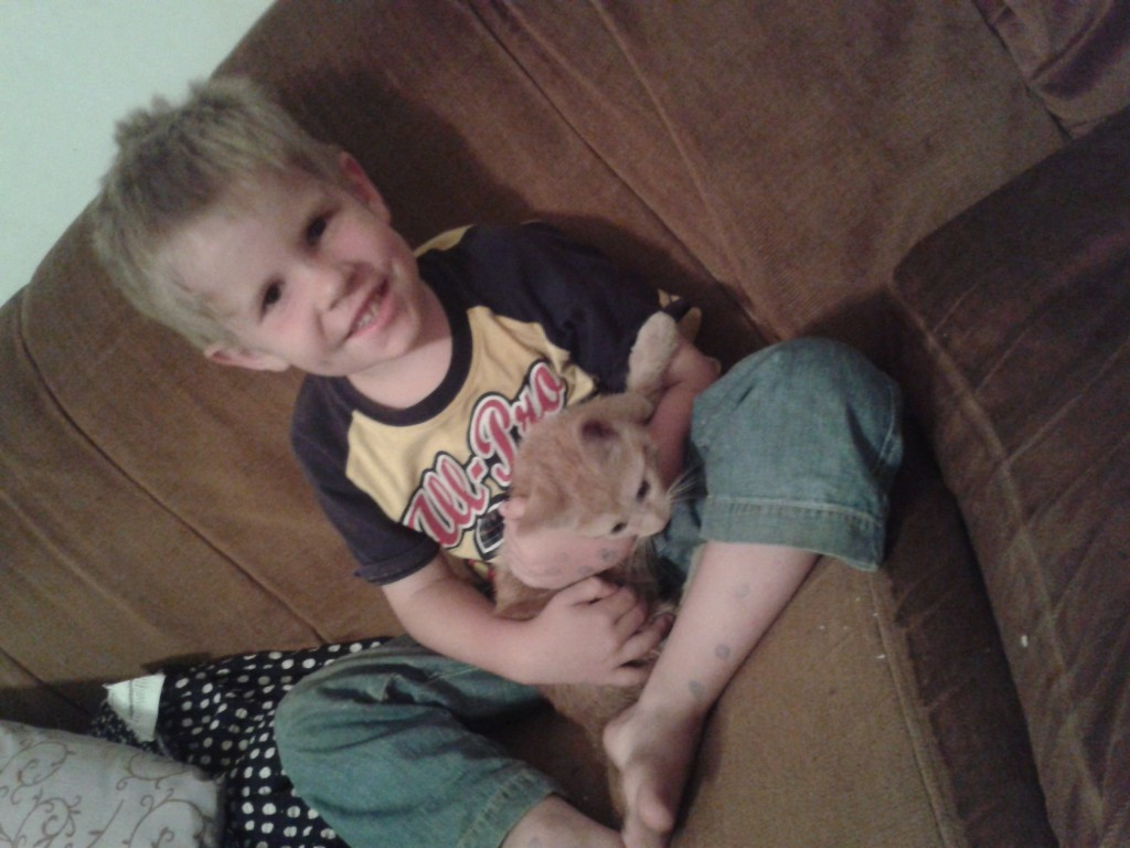 25-W-man loving his kitty