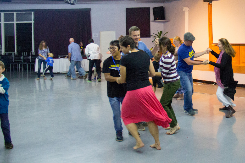 The team from Scotland taught us to dance a Ceilidh dance. Soo fun!
