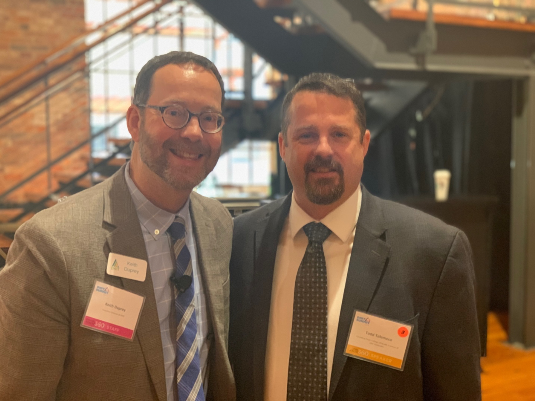 Keith Duprey, Executive Director at DHIT, with Todd Telemeco, Founding Dean of the College of Health Sciences at UNC Pembroke.