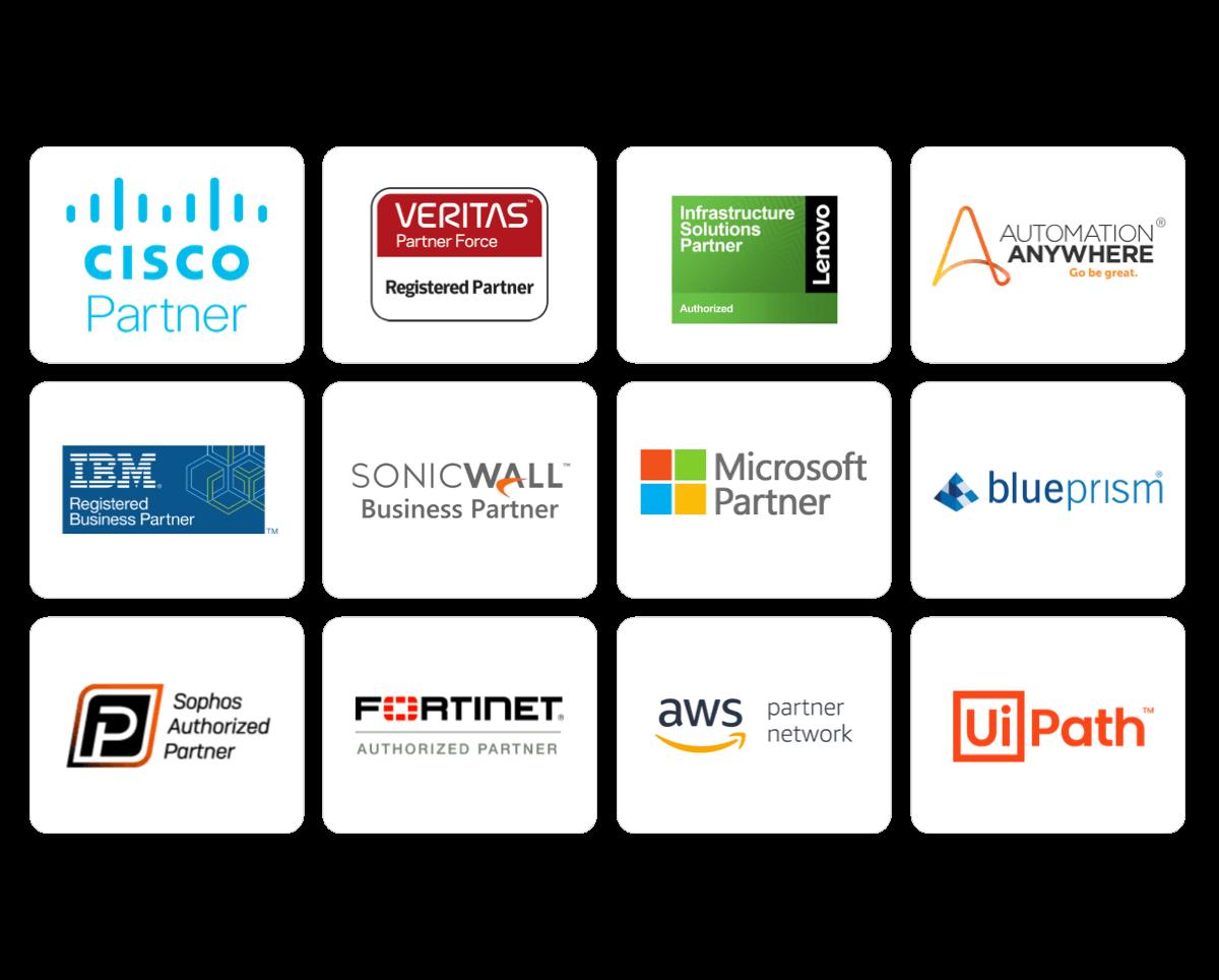 sunflower lab services technology partnrs cisco ibm microsoft sophos aws ui path automation anywhere