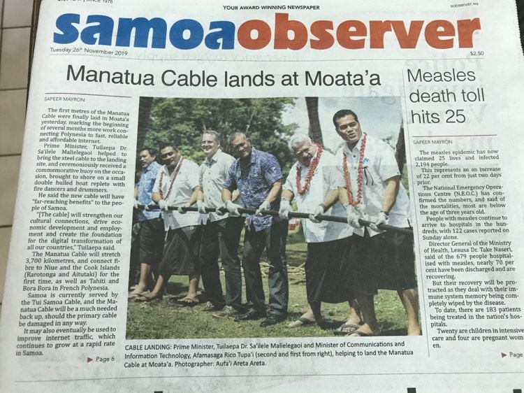 cable landing newspaper release