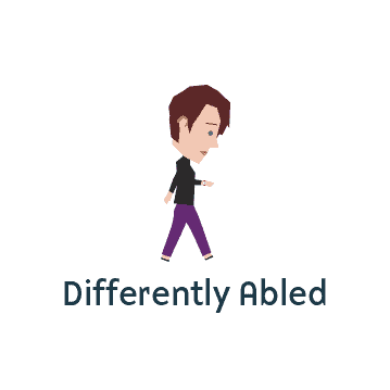 Differently abled person walking