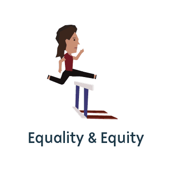 Icon representing equality and equity, woman jumping over hurdle