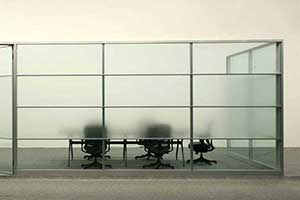 Image shows a frosted glass partition with clear bottom